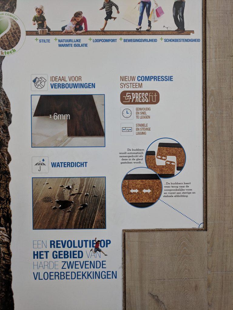 Vloerette Hilversum & Vloerette Lelystad Kurk vloeren in showroom Lelystad